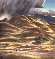 """""""A Shower in a Dry Year,"""" by southwest artist Peter Hurd."""