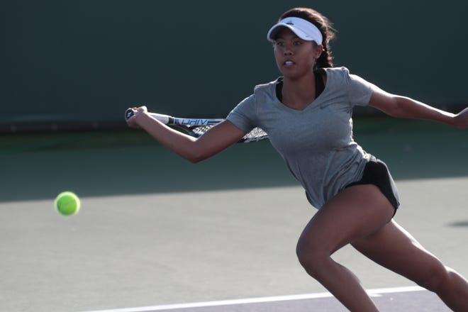 Shekinah Daffon competes in the singles finals at the Desert Empire League tennis championship, Thursday, October 25, 2018.