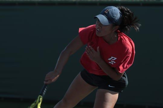 Emunah Daffon wins third place in the Desert Empire League tennis singles finals, Thursday, October 25, 2018.