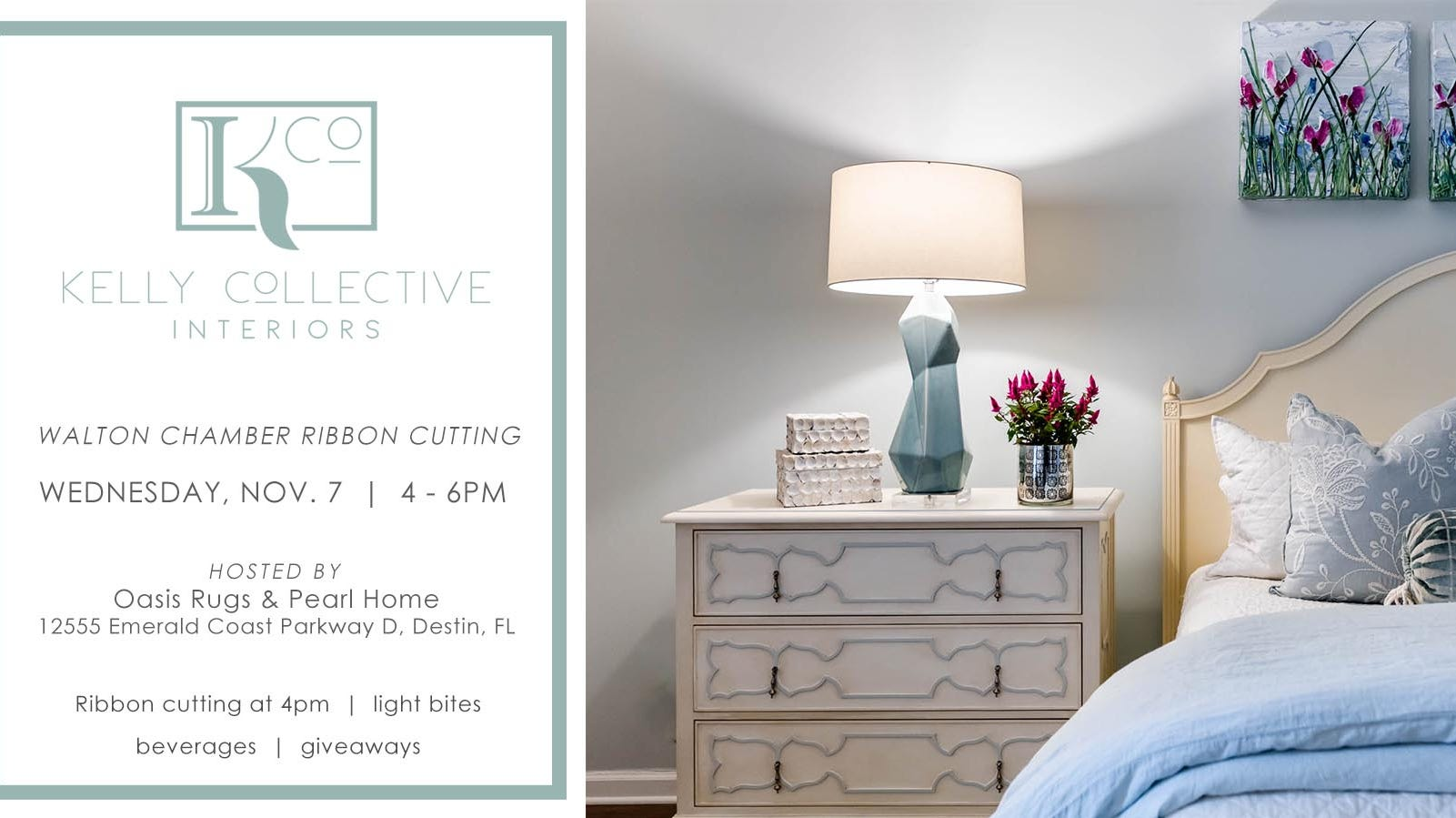 Kelly Collective Interiors will be made official with a ribbon cutting celebration at Oasis Rugs & Pearl Home, located at 12555 Emerald Coast Parkway, Suite D, in Mirimar Beach on Nov. 7 at 4 p.m.