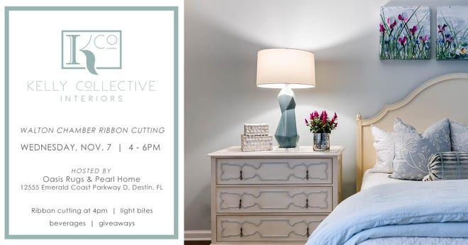 Kelly Collective Interiors will be made official with a ribbon cutting celebration at Oasis Rugs & Pearl Home, located at 12555 Emerald Coast Parkway, Suite D, in Miramar Beach at 4 p.m.  Nov. 7.