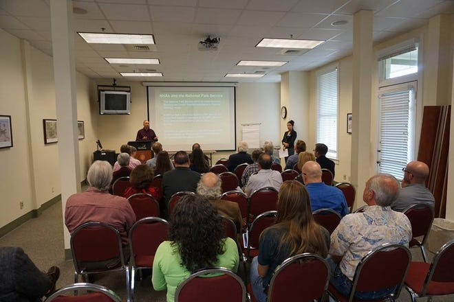 Jeffrey Shank from National Park Service and UWF research associate Sorna Khakzad host a presentation about the potential benefits of the Florida Panhandle being designated a National Heritage Area.
