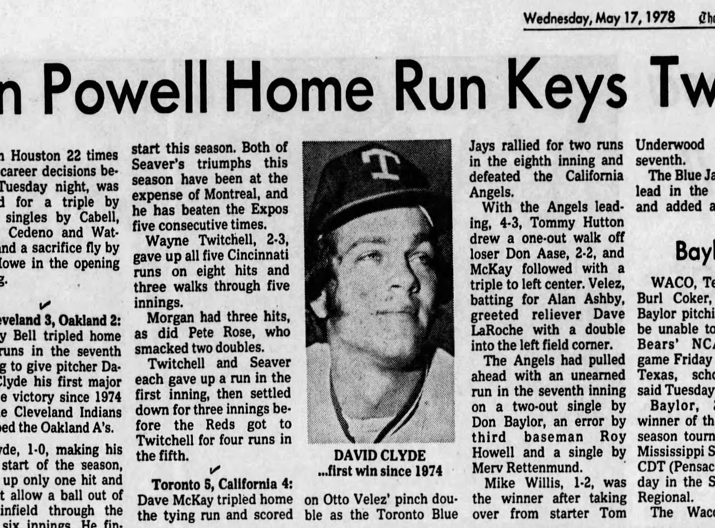 Pensacola News Journal article from May 17 1978. No. 22 Hosken Powell