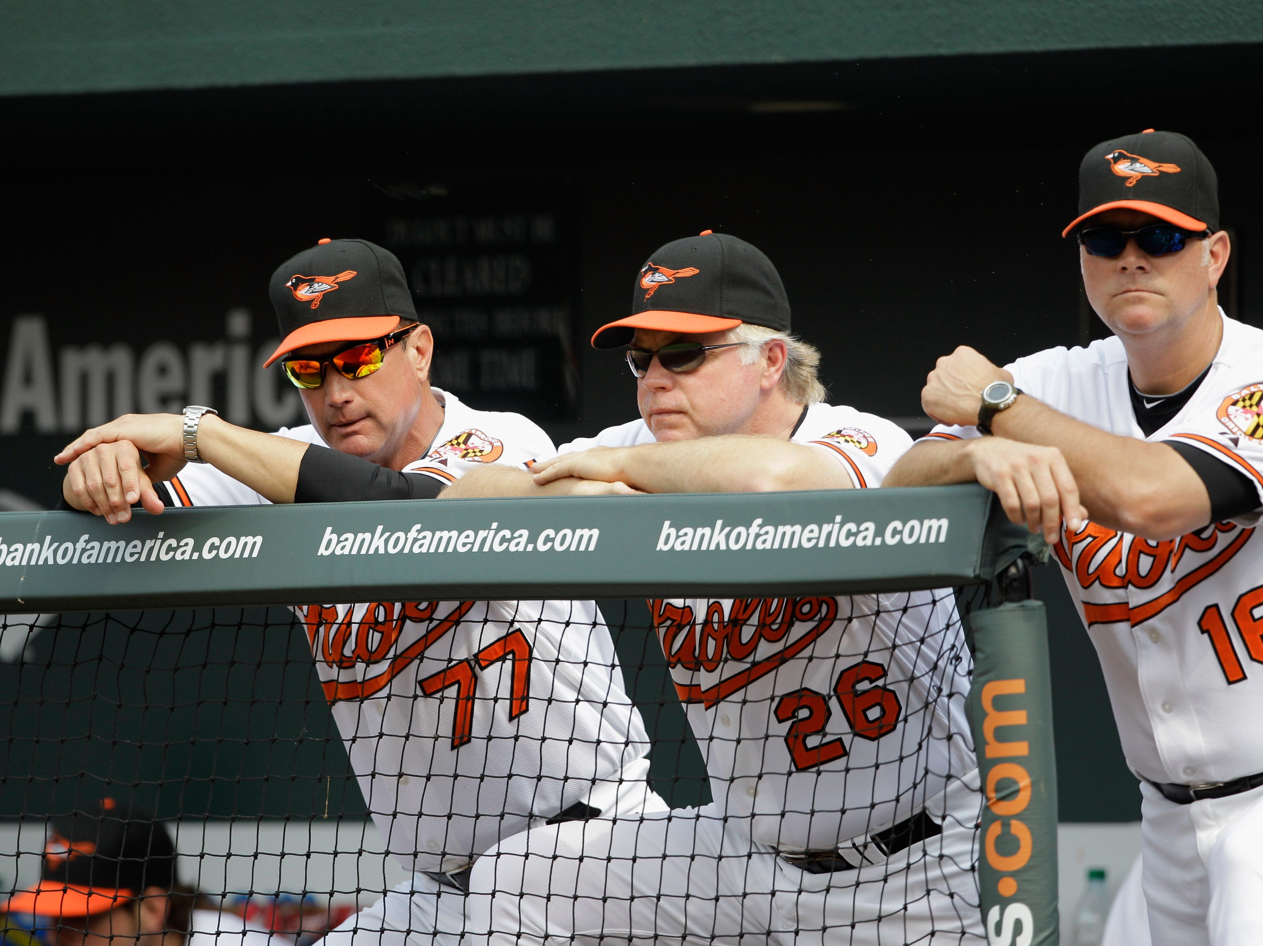 Manager Buck Showalter #26 of the Baltimore Orioles watches from the dugout with coaches John Russell #77 and Jim Presley #16 against the Toronto Blue Jays at Oriole Park at Camden Yards on June 5, 2011 in Baltimore, Maryland.  (Photo by Rob Carr/Getty Images)