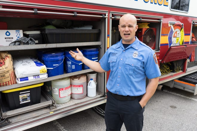 Lt. Joel Richardson gives a tour around Escambia County Fire Rescue Station 6's new hazardous materials unit on Friday.