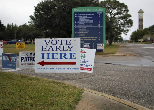 Signs line the road outside of the early voting location at Genealogy Branch Library at Pensacola State College on Friday, Oct. 26, 2018.