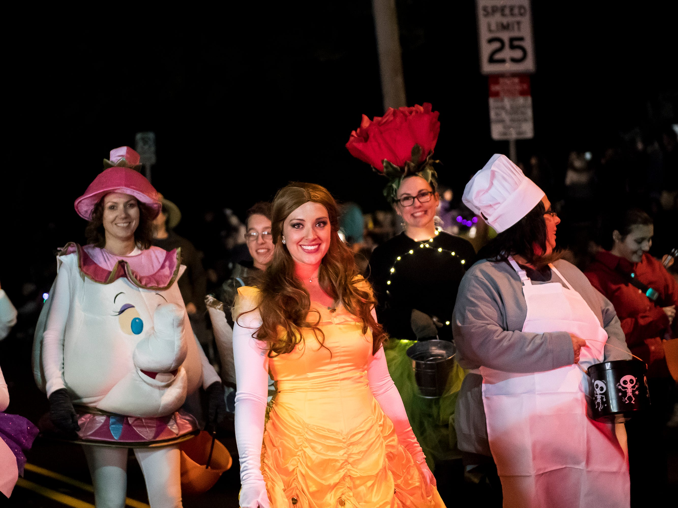 Parade participants make their way down Baltimore Street during the 77th annual Hanover Halloween parade on Thursday, October 25, 2018.