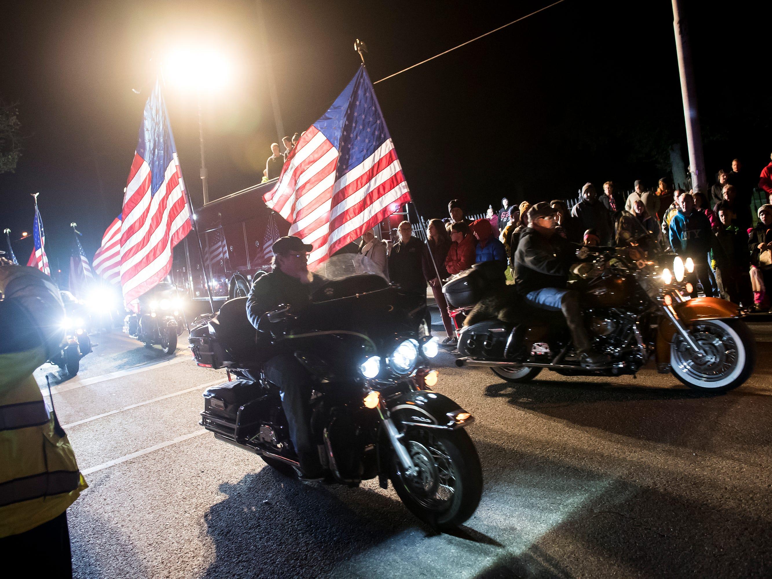 A motorcade kicks off the 77th annual Hanover Halloween parade on Thursday, October 25, 2018.