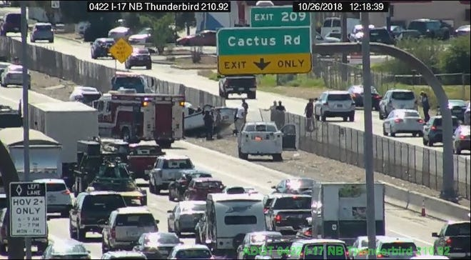 One person died in a rollover crash on I-17 near Cactus Road in Phoenix on Friday, according to the Arizona Department of Public Safety.