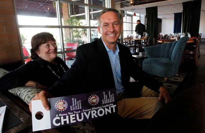 Ken Cheuvront, pictured with his mother in 2012, is running for justice of the peace after serving in the state Legislature for 16 years.