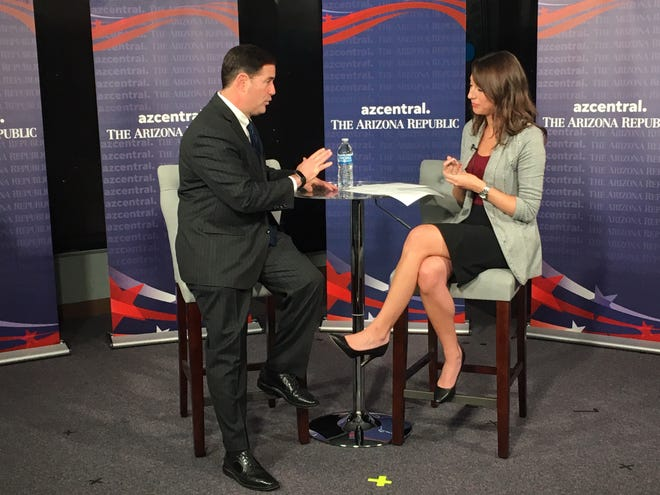 Gov. Doug Ducey sits down with Arizona Republic reporter Maria Polletta for a live interview on Oct. 25, to make his case for re-election.