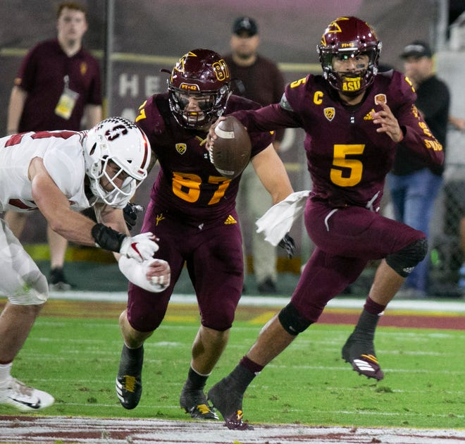 """""""We havea lot of respect for Manny (Wilkins) and his athletic ability. You give himtime back there he can dice you,"""" USC coach Clay Helton said."""