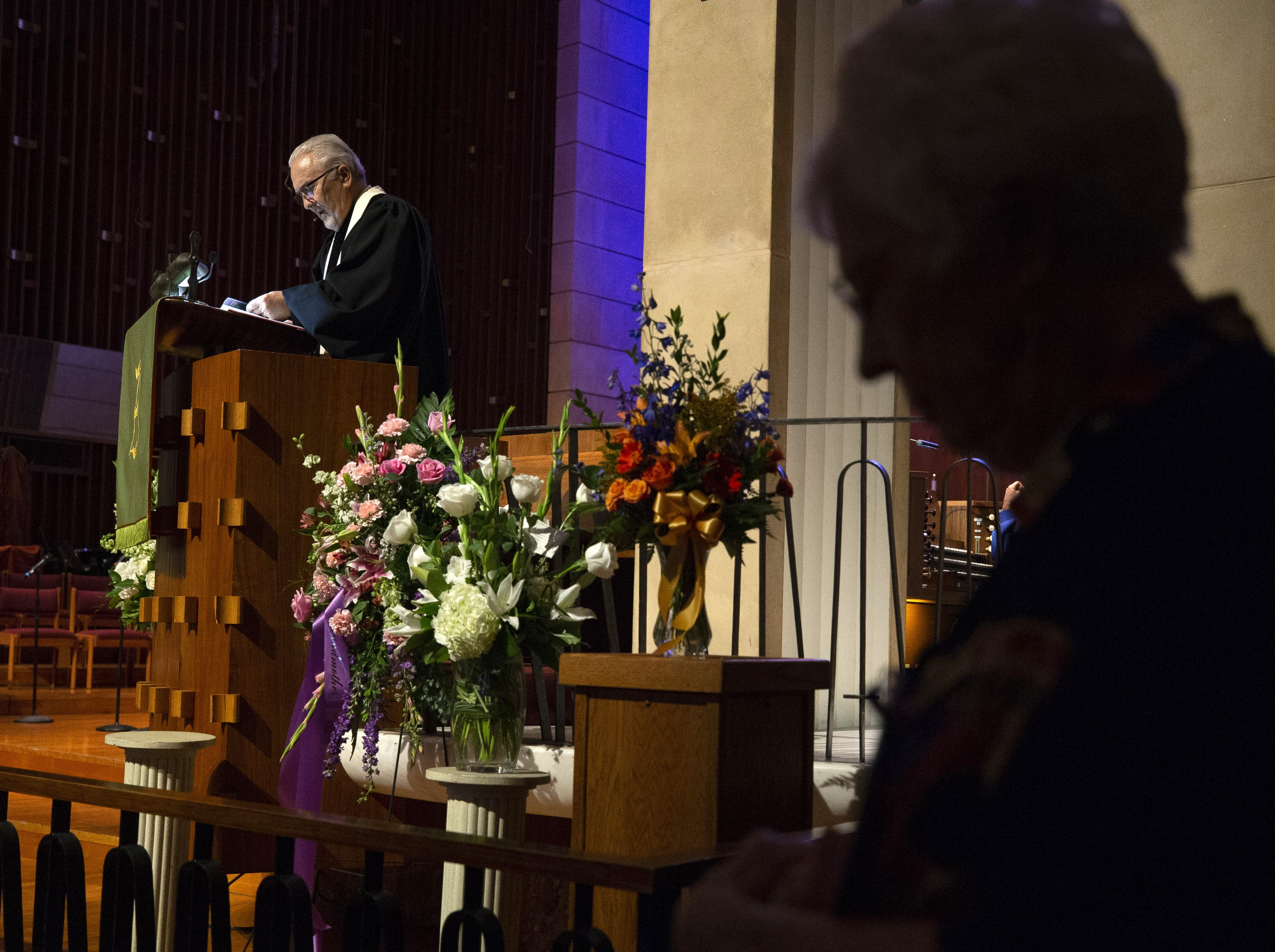 Reverend Dr. Denny Silk speaks during memorial services at First United Methodist Church in Phoenix for Carolyn Warner on October 25, 2018. Warner was the 15th Superintendent of Public Education for the state of Arizona and nearly became the state's first female governor in 1986.