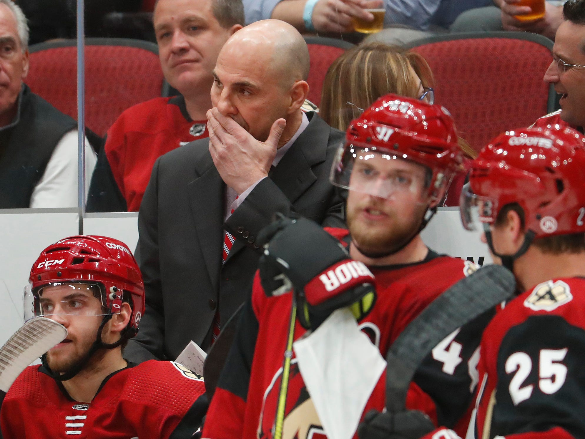 Coyotes' head coach Rick Tocchet watches his team play during the second period at Gila River Arena in Glendale, Ariz. on October 25, 2018.