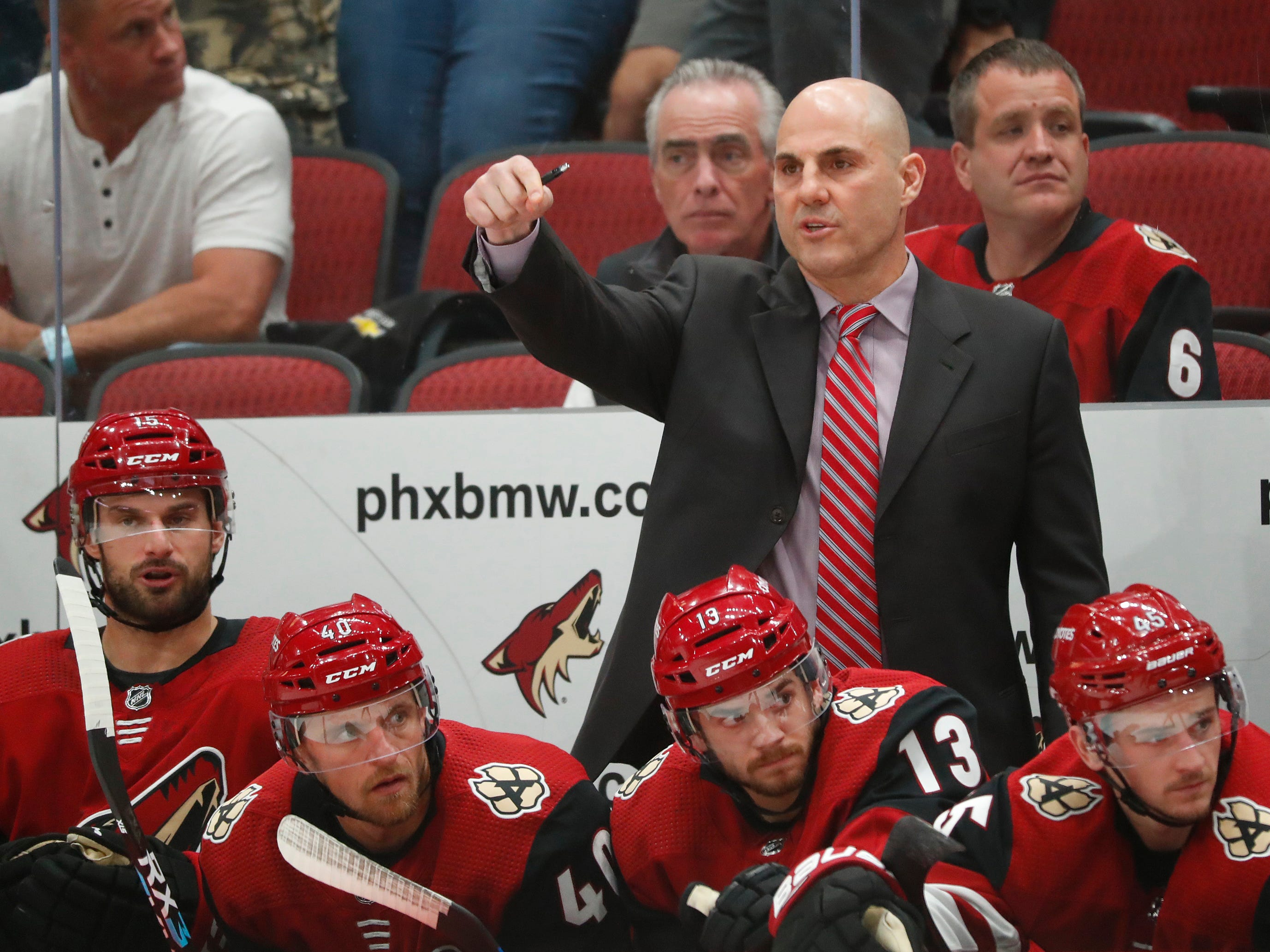 Coyotes' head coach Rick Tocchet talks as his team plays during the second period at Gila River Arena in Glendale, Ariz. on October 25, 2018.