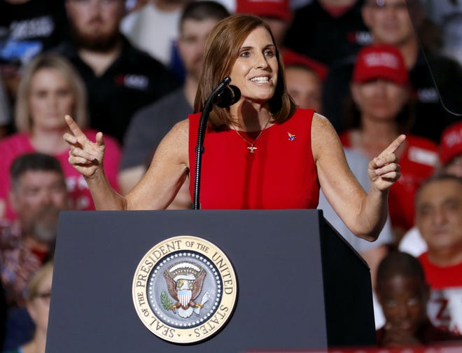 U.S. Rep. Martha McSally, R-Ariz., speaks at a campaign rally Oct. 19, 2018, in Mesa. President Donald Trump was in Arizona stumping for Senate candidate McSally.