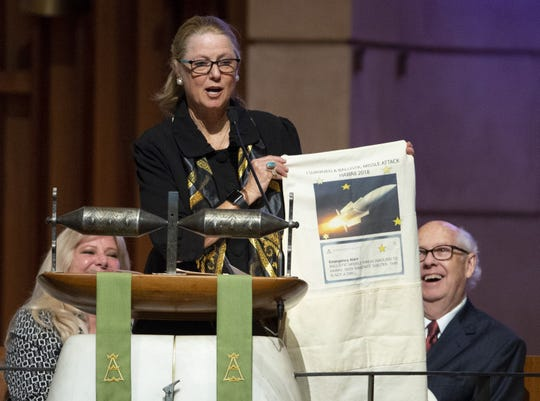 Caron Lieber speaks during memorial services for her mother, Carolyn Warner, at First United Methodist Church in on October 25, 2018. Warner was the 15th Superintendent of Public Education for the state of Arizona and nearly became the state's first female governor in 1986.