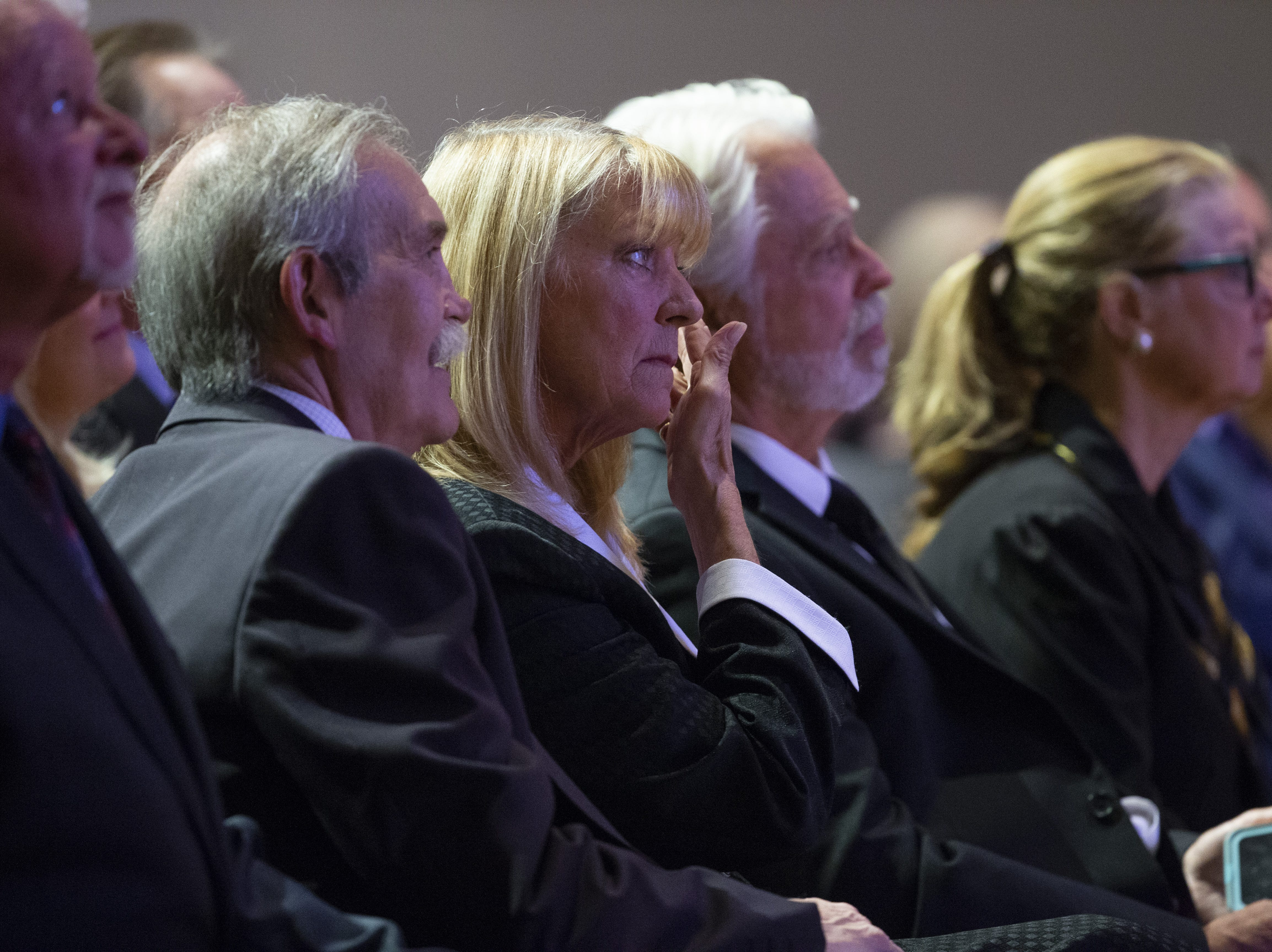Connie People listens during memorial services for her mother, Carolyn Warner, at First United Methodist Church in on October 25, 2018. Warner was the 15th Superintendent of Public Education for the state of Arizona and nearly became the state's first female governor in 1986.