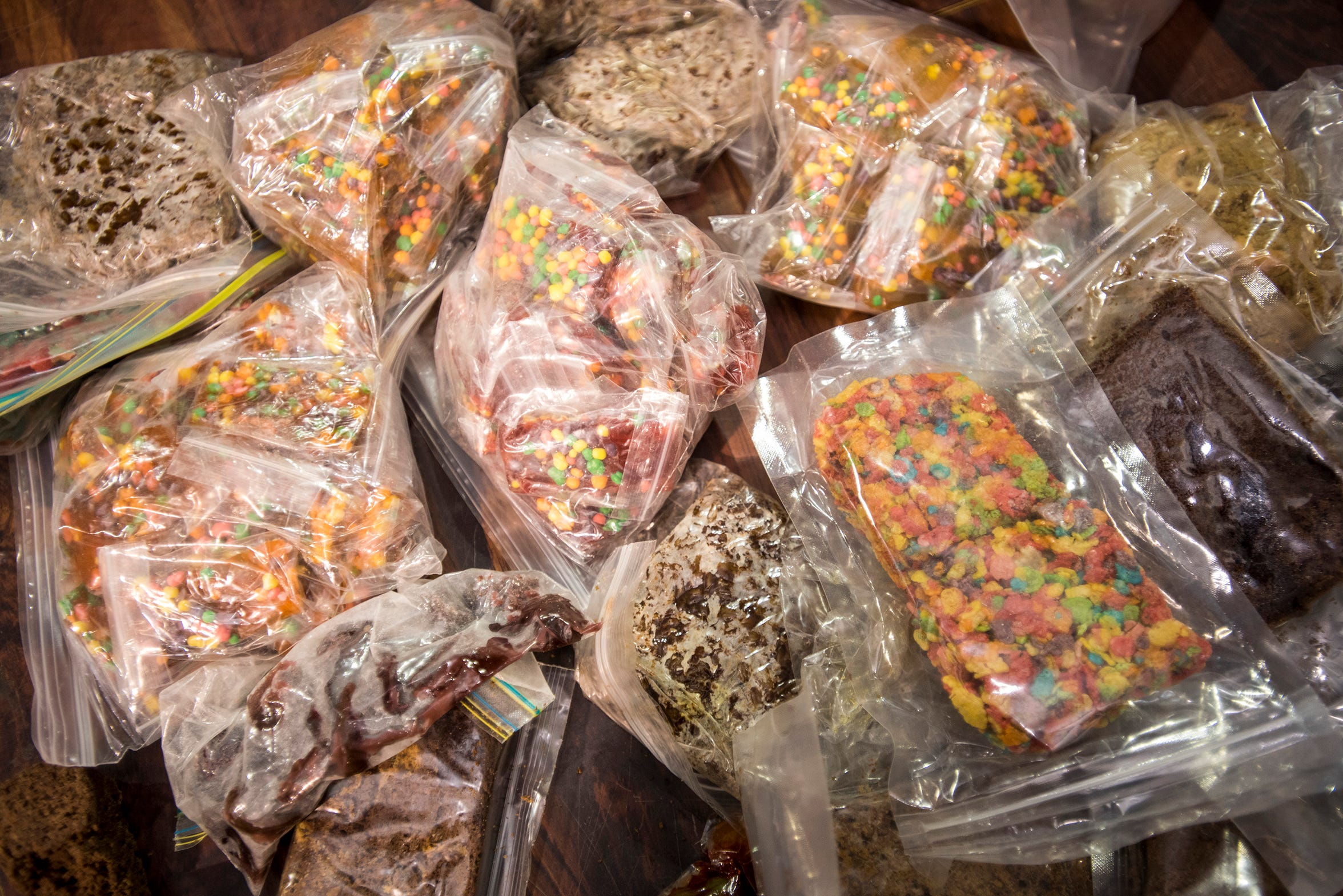 Edibles containing marijuana are seen in evidence bags at the St. Clair County Sheriff's drug task force.