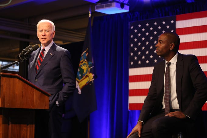 Former Vice President Joe Biden speaks during the Antonio Delgado rally in Kingston on October 26, 2018.