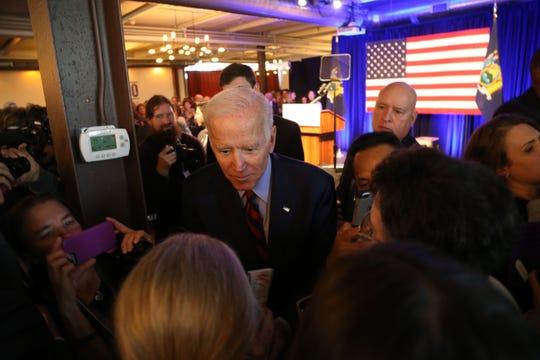 Former Vice President Joe Biden greets the crowd following the Antonio Delgado rally in Kingston on October 26, 2018.