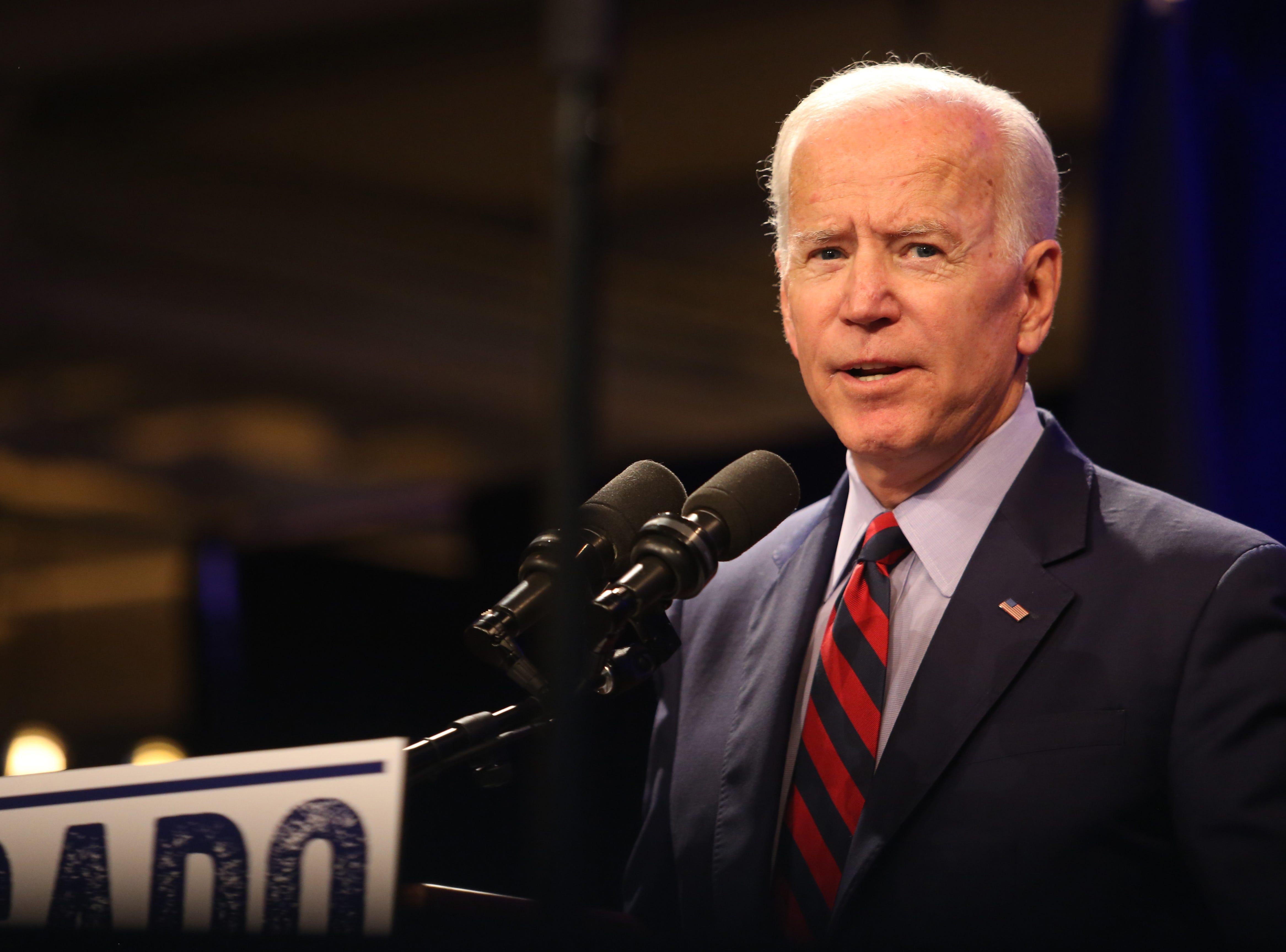 Former Vice President Joe Biden speaks during the Antonio Delgado rally in Kingston on October 26, 2018.