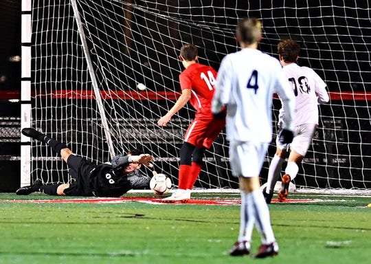 West York scores a goal during boys' District 3, Class 3-A soccer quarterfinal game action against Susquehannock at Susquehannock High School in Glen Rock, Thursday, Oct. 25, 2018. West York would win the game 1-0. Dawn J. Sagert photo