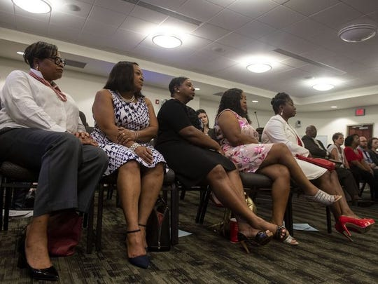 From left, Hanover Mayor Myneca Ojo, Sandra Harrison, Karen Crosby, Carolyn Dow and Sandra Thompson listen during a human relations commission hearing on June 21, 2018 about their treatment by management at Grandview Golf Course two months earlier.
