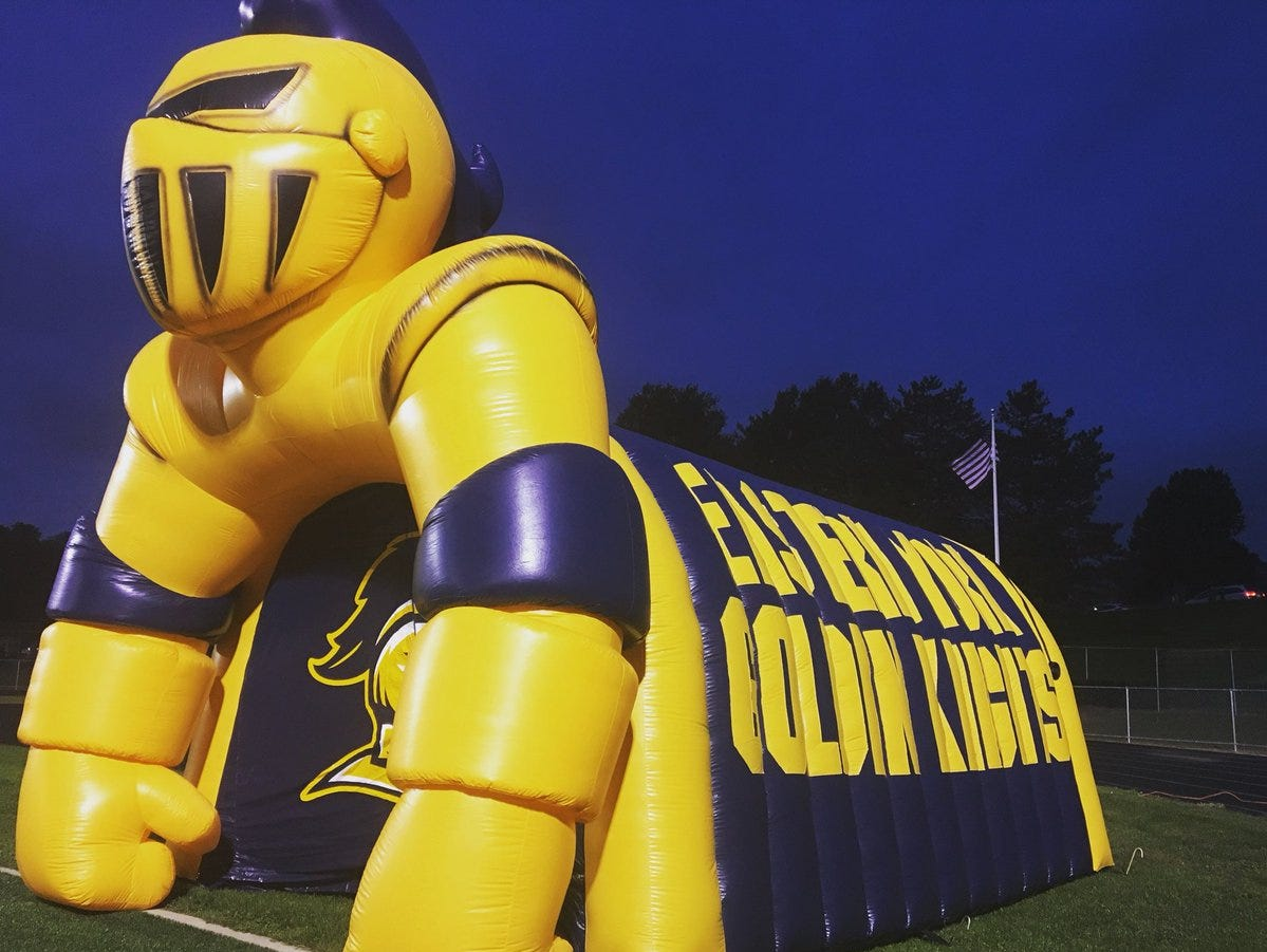 No, this isn't a bouncy house that Eastern York football players will run through before Friday's game against Kennard-Dale.