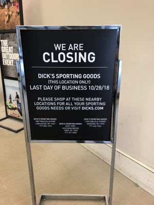 Dick's Sporting Goods is closing the store at Route 30 and Kenneth Road in York.