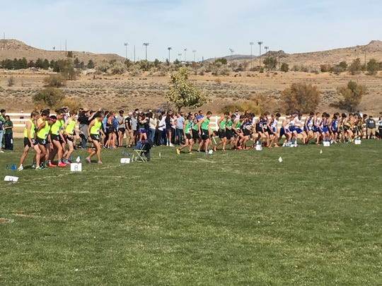 The start of the boys 4A race on Friday at Ranch San Rafael park.