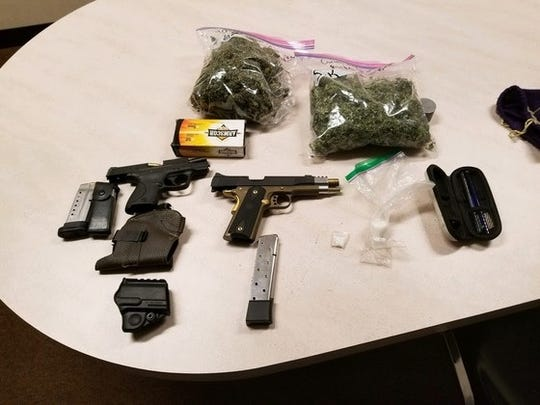 Marijuana, methamphetamine, handguns and other items were located in a vehicle during an Oct. 26, 2018, traffic stop.