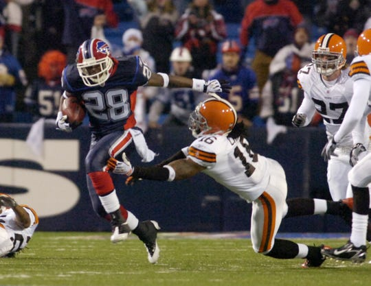 Buffalo's Leodis McKelvin breaks this tackle by Josh Cribbs of the Browns during a Monday night game on Nov. 17, 2008, in Orchard Park.