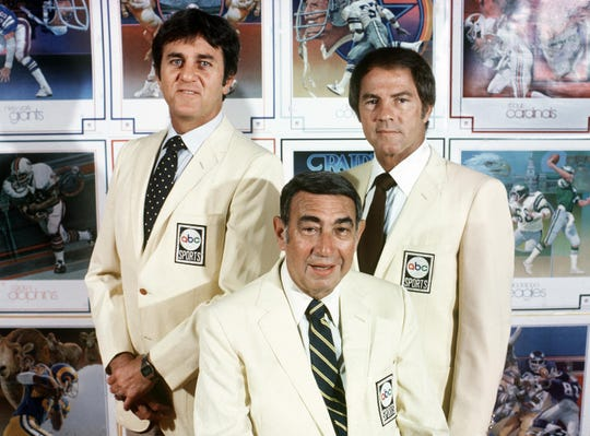 The ABC Monday Night Football commentators, from left,  Don Meredith, Howard Cosell and Frank Gifford.