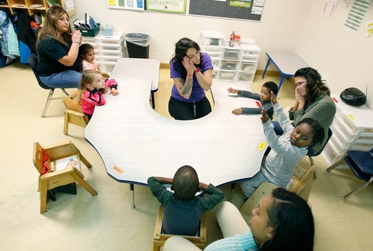Special education teacher Tracy Webster conducts a class with four-year-olds at the Mary Cariola Children's Center for occupational and physical therapy and speech therapy, among other things.