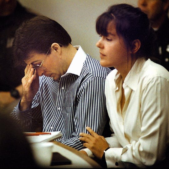 Robert Acremant and his attorney at his trial in October 1997.