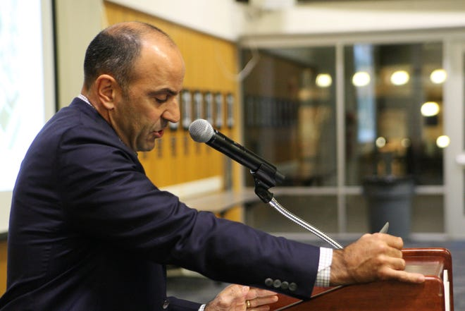 Congressman Jimmy Panetta at the podium Wednesday before the screening of Age of Consequences.