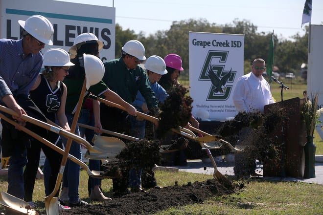 Grape Creek ISD broke ground on its new site Friday, Oct. 26, 2018 for its planned construction of a new middle school campus.