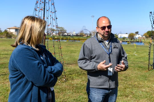 Frank Miller, Ocean City special events director, and Brenda Moore, Special Events Coordinator, talk about the town's busy event schedule in Northside Park on Monday, Oct 22, 2018.