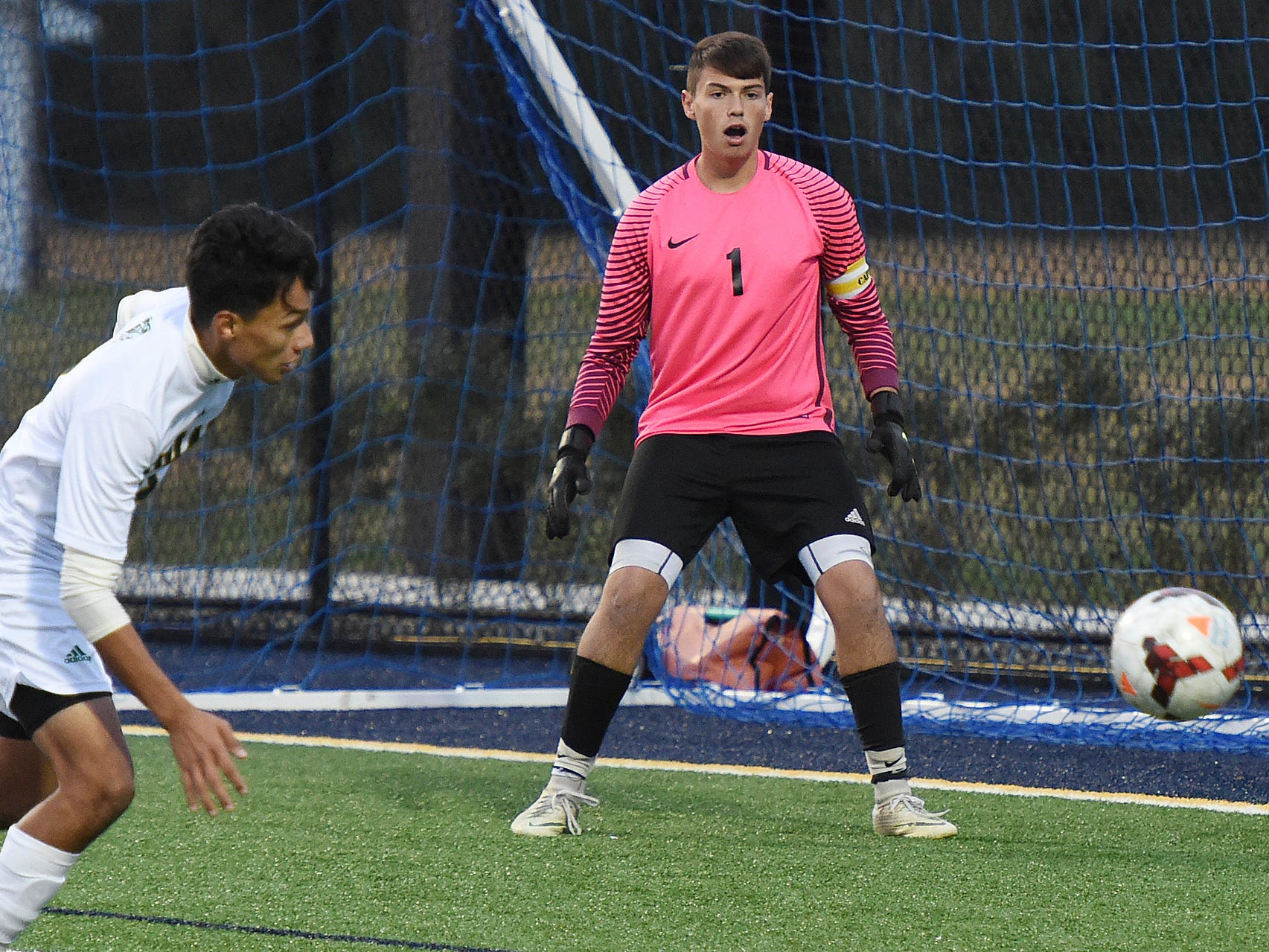 Indian River goalkeeper Zachary Neal watches as the ball goes past during the game at Sussex Academy on Oct. 25, 2018.