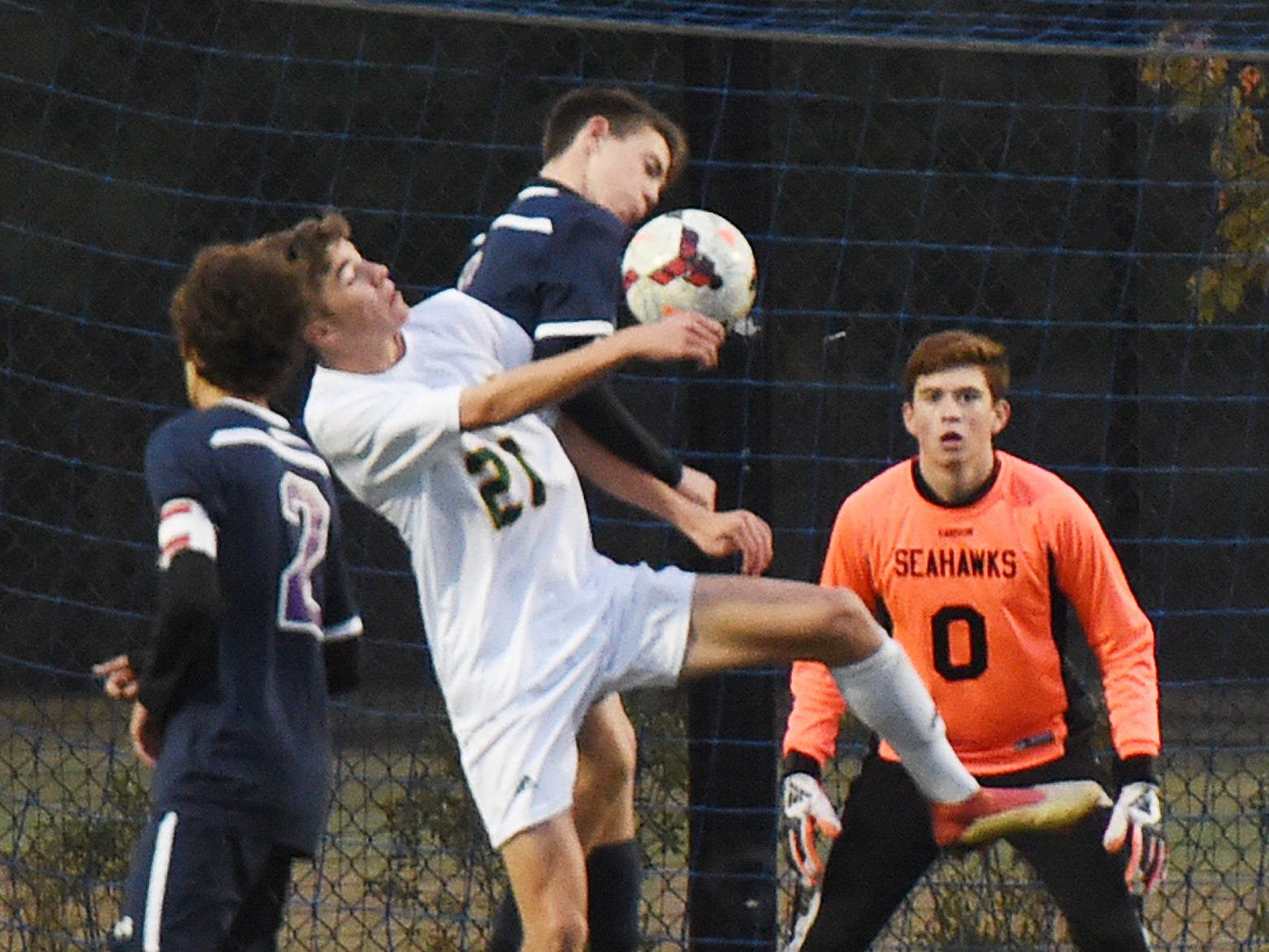 Indian River and Sussex Academy  players battle for the ball at the Seahawks' net in Georgetown on  Oct. 25, 2018.