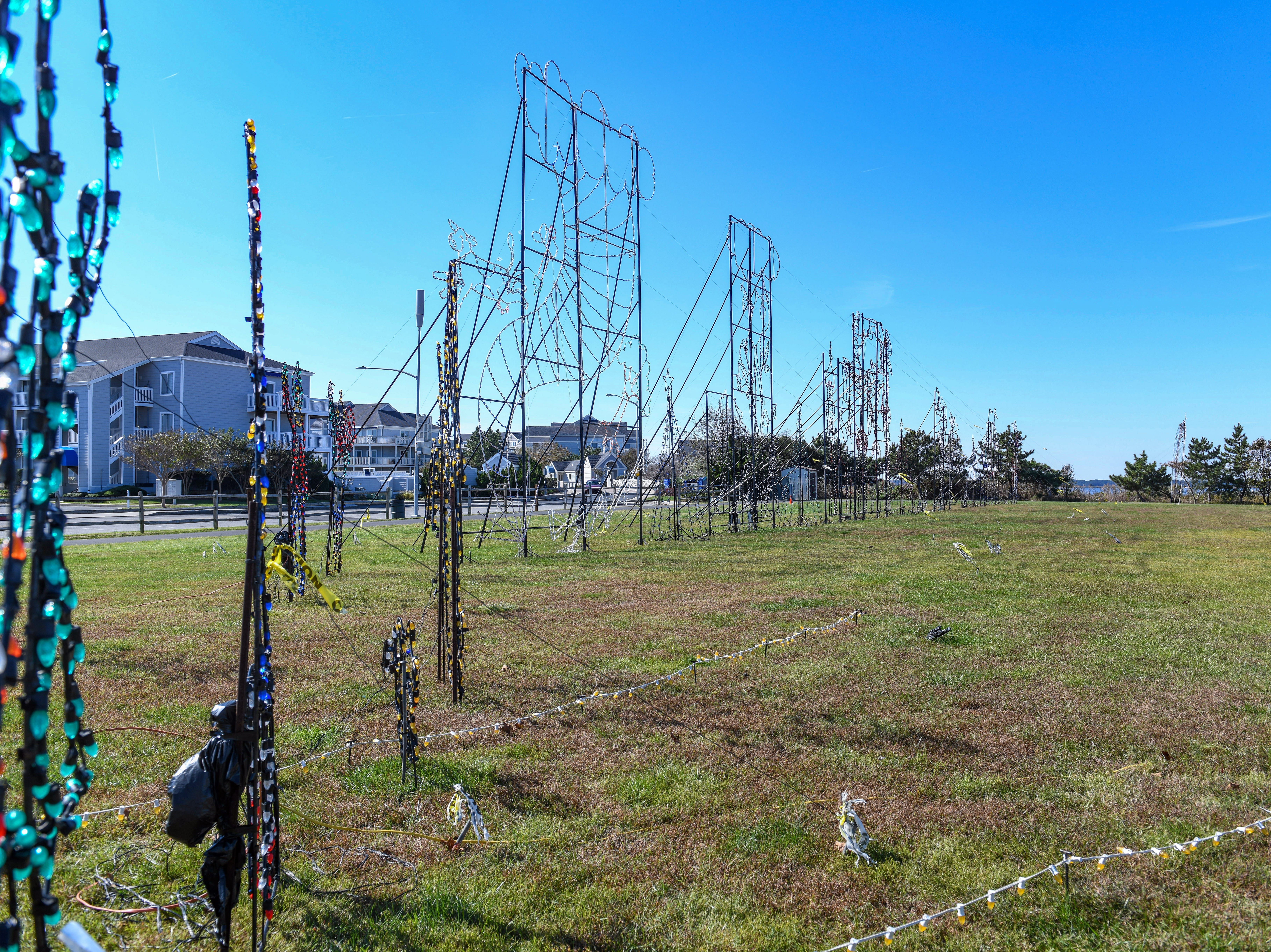 Preparations for Winterfest are well underway weeks before the event, as light displays sit ready in Ocean City's Northside Park on Monday, Oct 22, 2018.