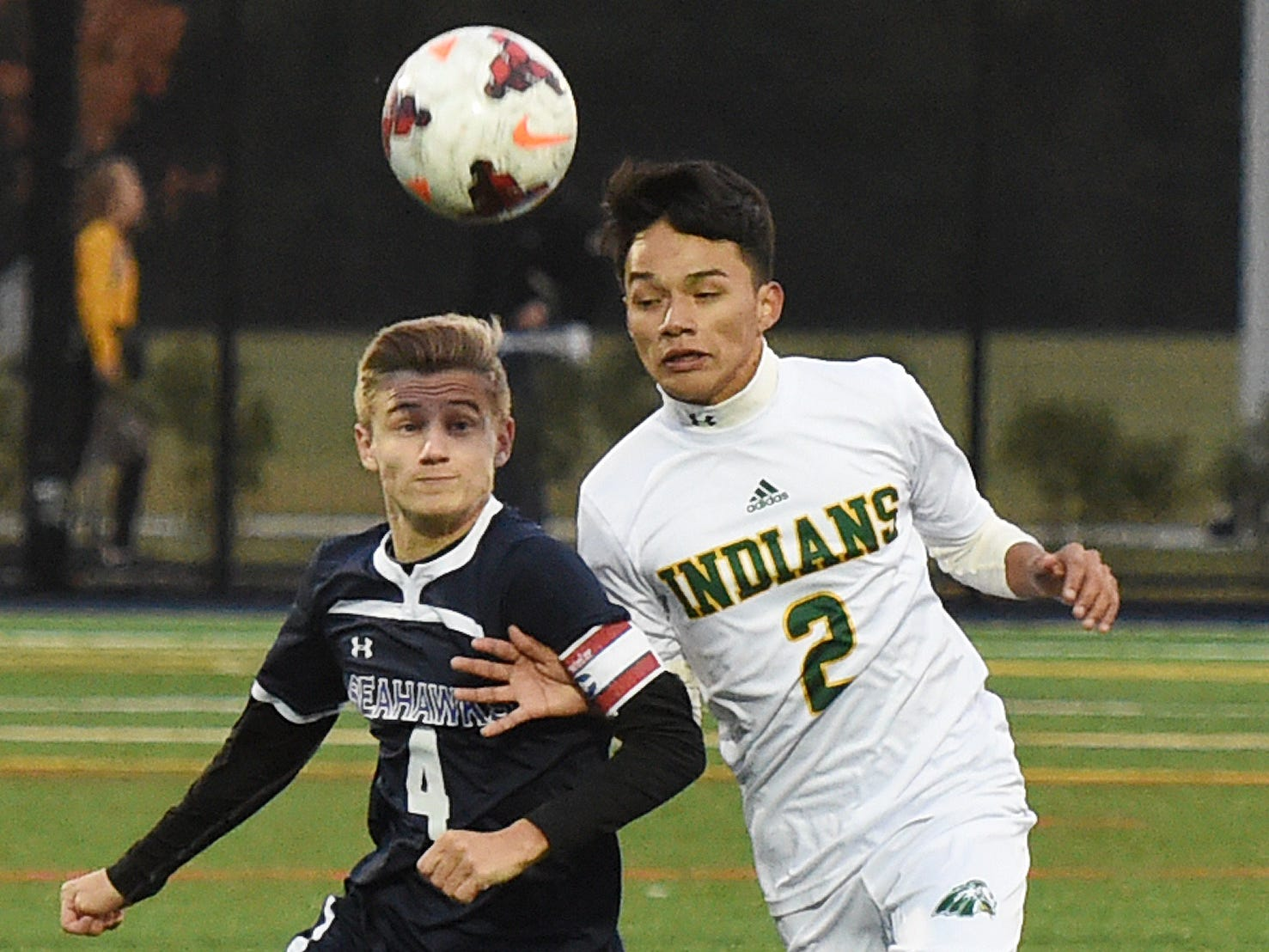 Sussex Academy's Kyle Berdini and Indian River's Jhony Ortiz Velasquez fight for the ball during the Indians' 1-0 win Oct. 25, 2018, in Georgetown.