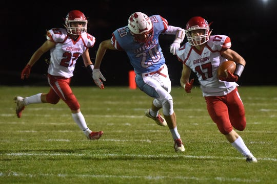 Gregory's Caleb Stukel (17) runs the ball during a game against Bon Homme in Tyndall, S.D., Thursday, Oct. 25, 2018.
