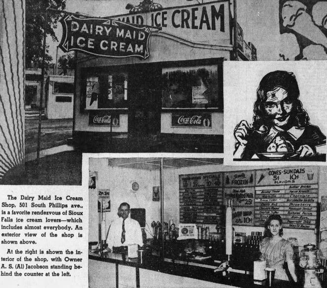 Dairy Maid Ice Cream shop on Phillips Avenue was owned by Al Jacobson, with some customers coming from nearby Washington High School.