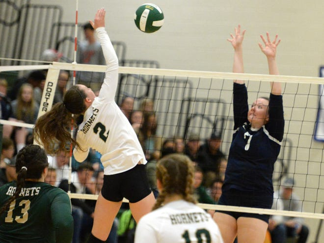 Cassidy Davis (2) had 12 kills for Wilson Memorial Thursday in the Shenandoah District volleyball tournament semifinals.