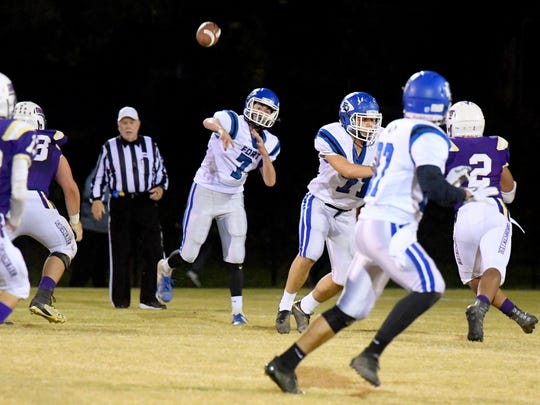 Fort Defiance's Austin Monroe passes the ball during a game played in Waynesboro on Thursday, Oct. 25. 2018.