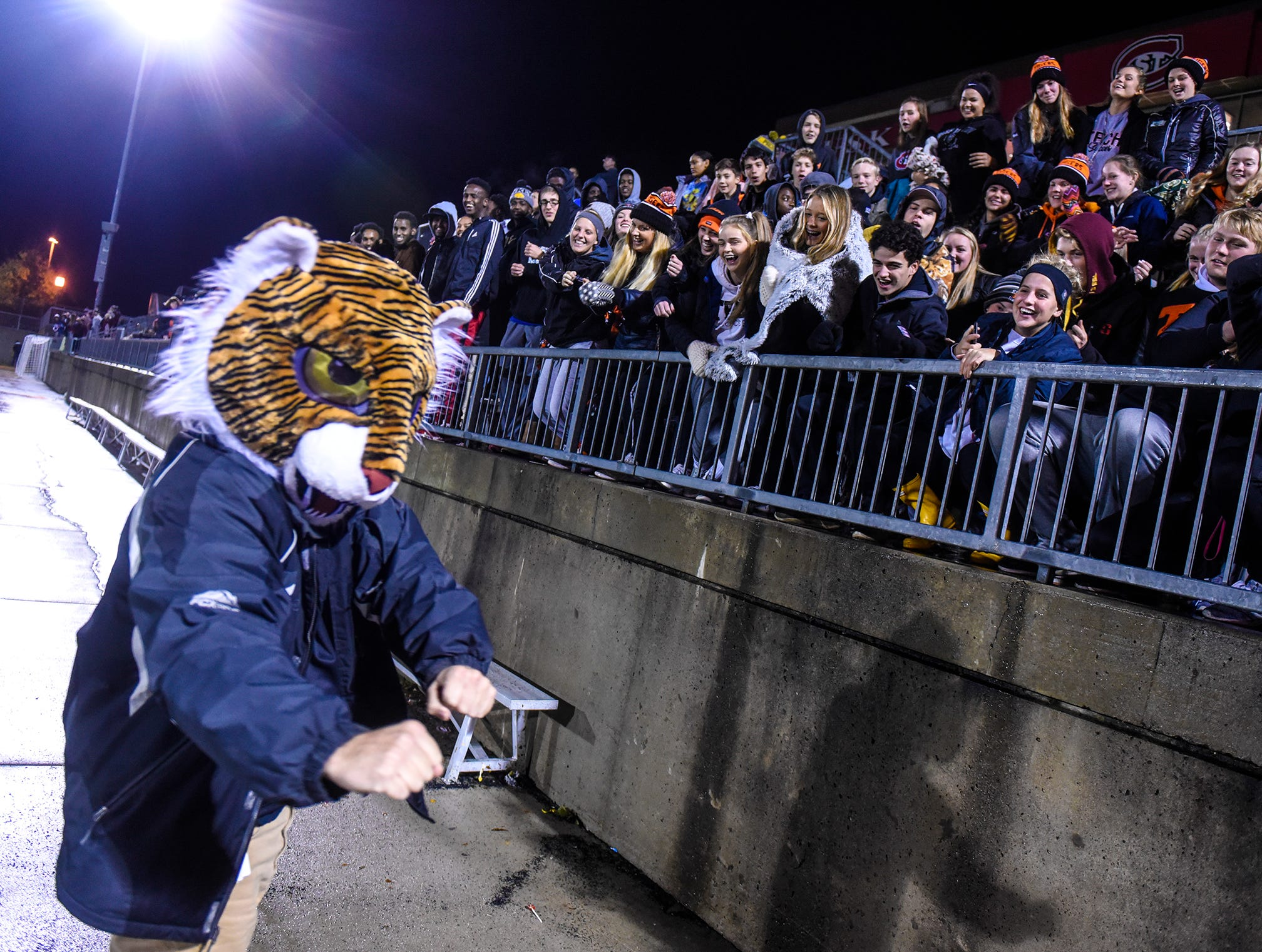Tech fans get ready for the start of the Thursday, Oct. 25, Class 2A state quarterfinal game at Husky Stadium in St. Cloud.