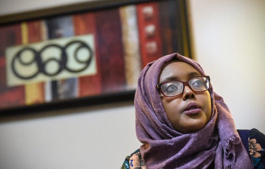 Community educator Amal Hassan talks about her experiences while working with The Center  for Victims of Torture during an interview Friday, Oct. 26, in St. Cloud.