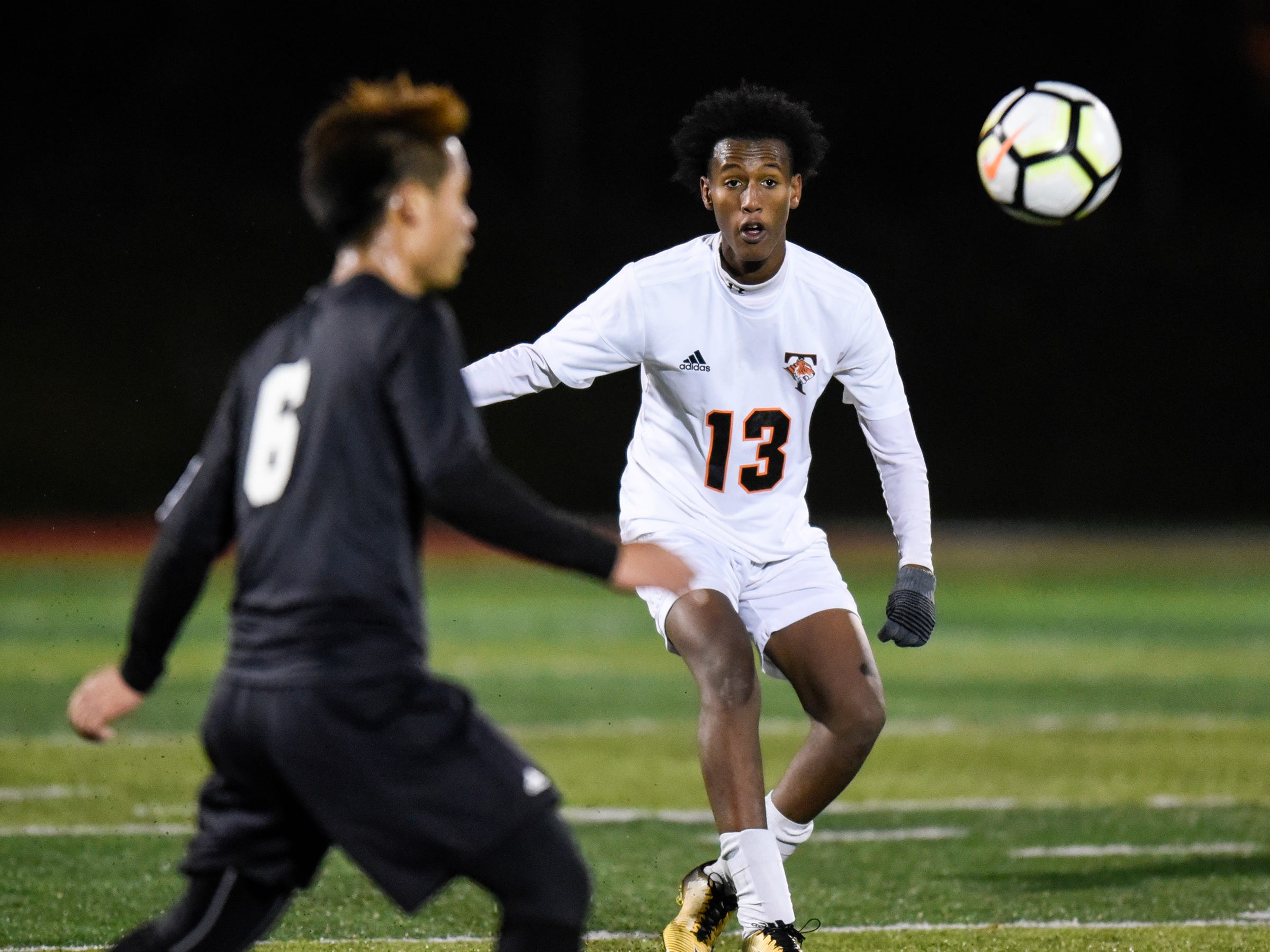 Tech's Abdisahal Elmi focuses on the ball during the Thursday, Oct. 25, Class 2A state quarterfinal game at Husky Stadium in St. Cloud.
